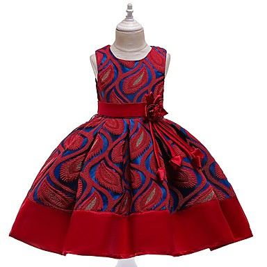 cheap Top Sellers-Kids Girls' Solid Colored Dress Wine