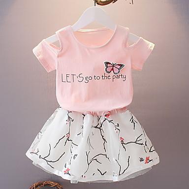 cheap Top Sellers-Kids Girls' Basic Print Short Sleeve Clothing Set White