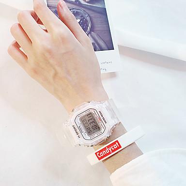 baratos Relógios Quadrados e Retangulares-Mulheres Relogio digital Nova chegada Fashion Branco Silicone Digital Rosa Dourado Branco Preto Impermeável Cronógrafo Relógio Casual 2 Peças Digital / Mostrador Grande