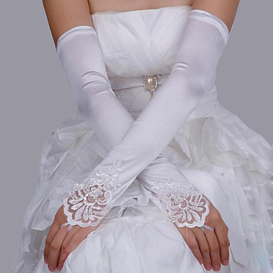 cheap Party Gloves-Lace / Satin Suit Length Glove Lace / Gloves With Solid
