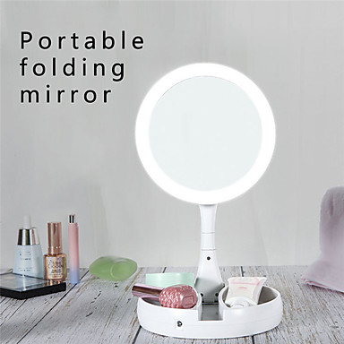 cheap Smart Lights-LED Light Makeup Mirror Round Shape Desktop Vanity Cosmetic 5X/10X Magnifying Mirror Double Sided Backlit Mirrors for Women