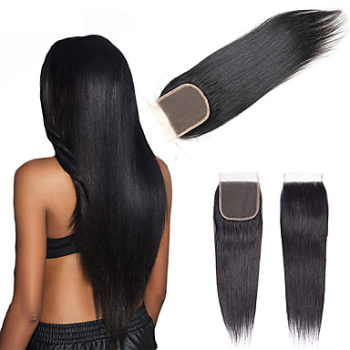 cheap Closure & Frontal-Brazilian Hair / Vietnamese Hair 4x4 Closure Straight Free Part Swiss Lace Virgin Human Hair / Remy Human Hair Women's Dailywear