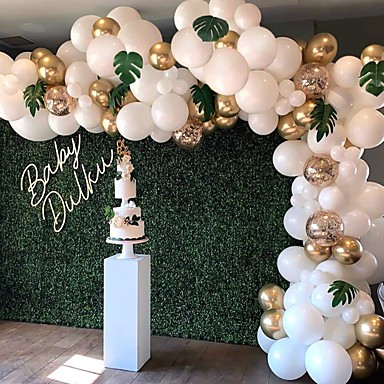 cheap Holiday & Party Decorations-DIY Balloon Arch & Garland kit,  Party Balloons Decoration Set, Gold Confetti  & White & Transparent Balloons for Baby Shower, Wedding, Birthday, Graduation, Anniversary Organic Party Wedding & Event