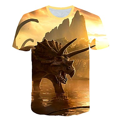 cheap Baby & Kids-Kids Toddler Boys' Active Street chic Fantastic Beasts Print Print Short Sleeve Tee Khaki