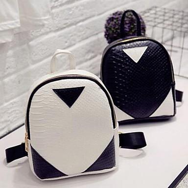 levne Shoes Trends-Velká kapacita PU Zip batoh Hadí kůže Denní Černá / Bílá