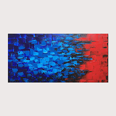 cheap Oil Paintings-Oil Painting Hand Painted - Abstract Pop Art Modern Stretched Canvas