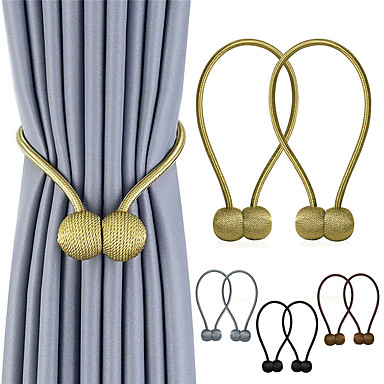 cheap Construction & Decoration-2Pcs Curtain Straps Creative Minimalist Tendon Curtain Magnetic Buckle Free Punching Free Installation Curtain Buckle
