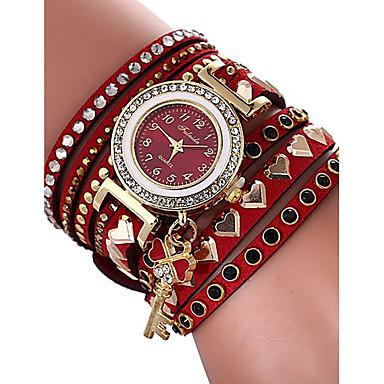 levne Pánské-Dámské Náramkové hodinky Kubický zirkon Heart Shape Na běžné nošení Červená PU kůže čínština Křemenný Rubínově červená Hodinky na běžné nošení imitace Diamond 1 ks Analogové Jeden rok Životnost