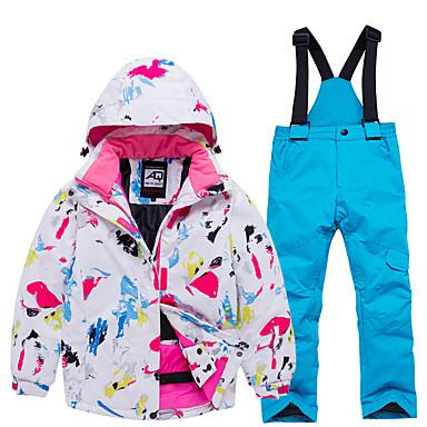 ARCTIC QUEEN Para Meninas Jaqueta de Esqui Calças de Esqui Esqui Acampar e Caminhar Esportes de Inverno Prova-de-Água A Prova de Vento Quente Poliéster Blusas Térmicas Calças Térmicas Conjuntos Roupa