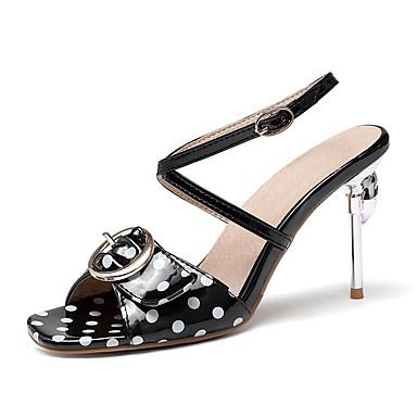 levne Dámské sandály-Dámské Sandály Vysoký úzký Otevřený palec PU Na běžné nošení / Bristké Léto Černá / Bílá / Modrá / Party