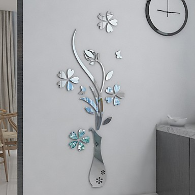 cheap Wall Stickers-DIY Mirror Flower Vase 3D Crystal Acrylic Butterfly Stickers,Floral Vase Mirror Wall Decal for Entranceway Living Room Furniture Wall Deco
