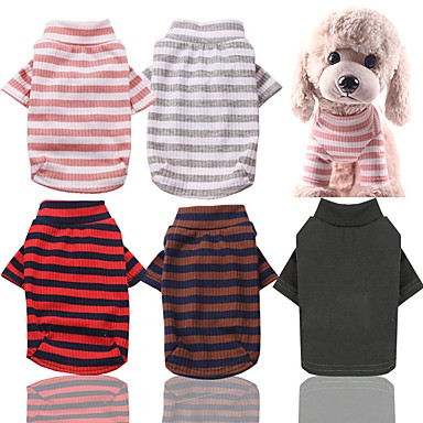 cheap Dog Clothes-Dog Cat Pajamas Stripes Casual / Daily Stripes Dog Clothes Red Pink Green Costume Cotton XS S M L XL XXL