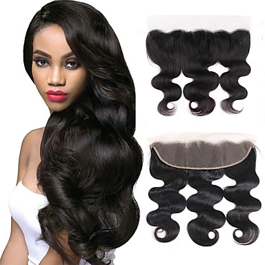 cheap Closure & Frontal-Brazilian Hair / Vietnamese Hair 4x13 Closure Wavy Free Part Swiss Lace Virgin Human Hair / Remy Human Hair Women's Dailywear