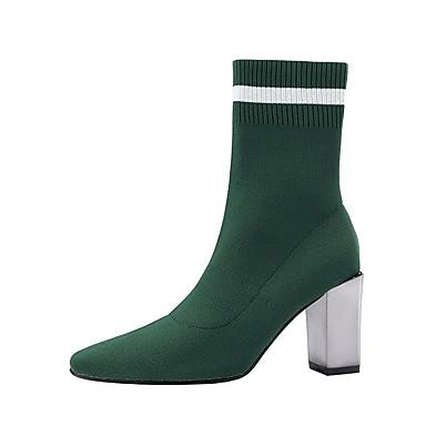 levne Dámská obuv-Dámské Boty Block Heel Palec do špičky Semiš Do půli lýtek Podzim zima Černá / Armádní zelená / Světle fialová