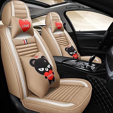 preiswerte Kopfstützen fürs Auto-Cartoon Auto Kissen vier Jahreszeiten gm Kissen Leinen Autositzbezug fünf Sitz kompatiblen Airbag Luxus-Version mit 2 Kopfstützen und 2 Lenden