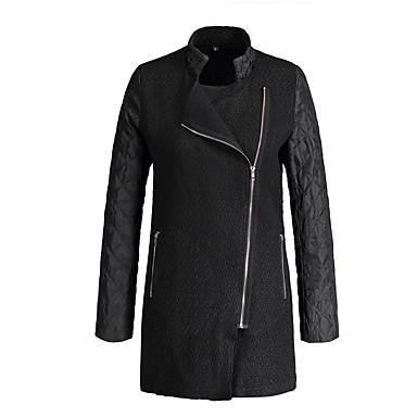 levne Novinky-Dámské Denní Základní Zima Standardní Kabát, Jednobarevné Stojáček Dlouhý rukáv Polyester Černá / Fialová