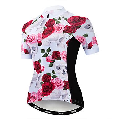 21Grams Floral Botânico Mulheres Manga Curta Camisa para Ciclismo - Rosa claro Moto Camisa / Roupas Para Esporte Blusas Respirável Secagem Rápida Esportes Poliéster Elastano Terylene Ciclismo de