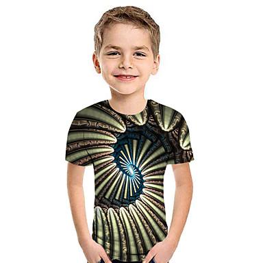 preiswerte Kapuzenpullover & Sweatshirts für Jungen-Kinder Jungen Aktiv Street Schick Geometrisch 3D Patchwork Druck Kurzarm Kapuzenpullover Gelb