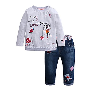 cheap Top Sellers-Kids Girls' Basic Cartoon Long Sleeve Clothing Set Gray