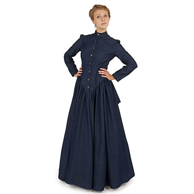 [$109.99] Duchess Victorian Ball Gown 1910s Edwardian Dress Party Costume  Women\'s Costume Ink Blue Vintage Cosplay Masquerade Long Sleeve Floor  Length ...