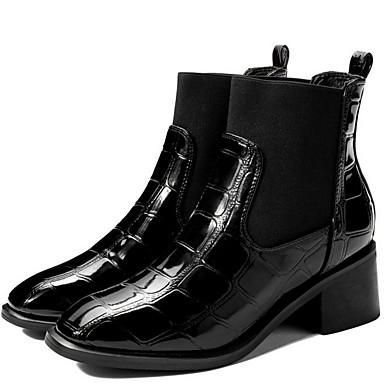 levne Dámská obuv-Dámské Boty Nízký podpatek Čtvercová špička PU Kotníčkové Zima Černá