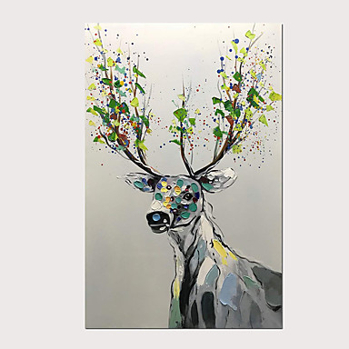 cheap Oil Paintings-Oil Painting Hand Painted - Abstract Animals Modern Stretched Canvas