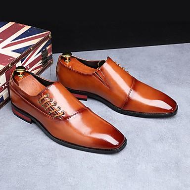 abordables Oxfords Homme-Homme Chaussures habillées Automne Business / Classique Bureau et carrière Oxfords Polyuréthane Preuve de l'usure Jaune / Rouge Bordeaux / Noir