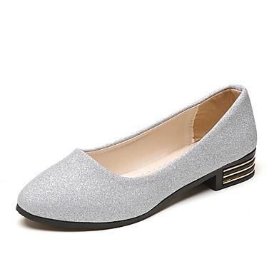 levne Dámské boty s plochou podrážkou-Dámské Bez podpatku Rovná podrážka Palec do špičky PU Léto Zlatá / Stříbrná