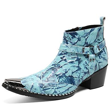 Homens Fashion Boots Pele Napa Inverno / Outono & inverno Clássico / Formais Botas Manter Quente Botas Curtas / Ankle Vermelho / Azul / Festas & Noite
