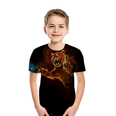 cheap Baby & Kids-Kids Boys' Active Street chic 3D Patchwork Animal Print Short Sleeve Tee Rainbow