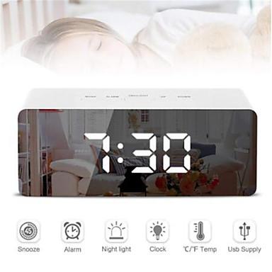 Digital led despertador espelho night light grande display lcd eletrônico relógio de mesa com termômetro função soneca desktop