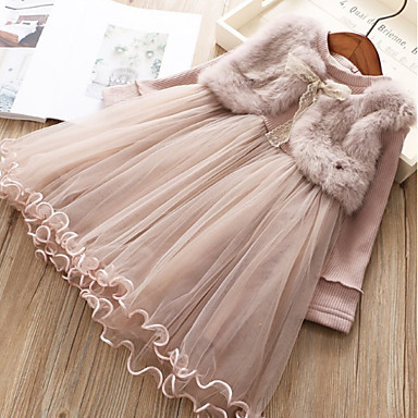 cheap Top Sellers-Kids Girls' Solid Colored Dress Blushing Pink