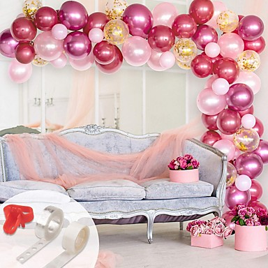 cheap Holiday & Party Decorations-Pink Party Balloons Hot Pink & Gold Metallic Balloons Pearlescent Balloons Arch &Decorating Strip+Balloon Tying Tools+Glue Dots+Flower Clips+Silver Ribbons,Wedding, Baby Shower, Party