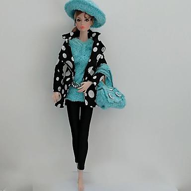 preiswerte Zubehör für Puppen-Puppenrock Kleider & Röcke Anzüge 5 pcs Für Barbie Modisch Schwarz / blau Vließstoff Stoff Baumwolle Kleidung 1 Tasche / Mantel / Top Für Mädchen Puppe Spielzeug