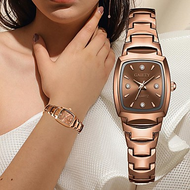 cheap Square & Rectangular Watches-Women's Quartz Watches Quartz Elegant Chronograph Stainless Steel Silver / Rose Gold Analog - Rose Gold White Silver One Year Battery Life