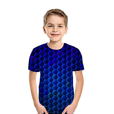 cheap Baby & Kids-Kids Boys' Active Street chic Geometric 3D Patchwork Print Short Sleeve Tee Blue