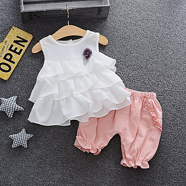 cheap Top Sellers-Baby Girls' Basic Solid Colored Sleeveless Regular Cotton Clothing Set White / Toddler