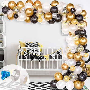 cheap Holiday & Party Decorations-Balloon Arch & Garland Kit,  Black, White, Gold Confetti and Metal Latex Balloons with 1pcs Tying Tool, Balloon Strip Tape and Glue Dots for Wedding Birthday Graduation Decor
