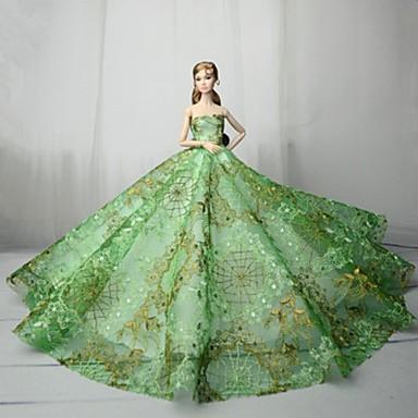 Dollklänning Fest / afton För Barbie Satin / tyll Spets Satin Klänning För Flicka Dockleksak