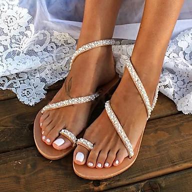 hesapli Kadın Düğün Ayakkabıları-Kadın's Sandaletler Boho Düz Sandalet Yaz Düz Taban Açık Uçlu Tatlı Minimalizm Boho Günlük Kumsal İnci Solid PU Yürüyüş Haki