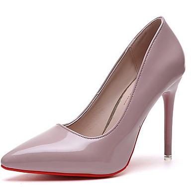 cheap Women's Heels-Women's Heels Stiletto Heel Pointed Toe PU Winter Black / Almond / Red