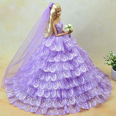 levne Doplňky pro panenky-Šaty pro panenky Party / Večírek Pro Barbie Krajka Fialová Tyl Krajka Směs bavlny Šaty Pro Dívka je Doll Toy