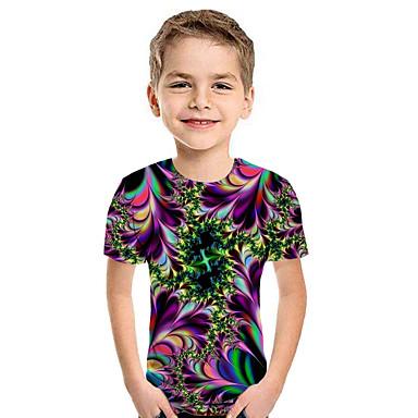 preiswerte Kapuzenpullover & Sweatshirts für Jungen-Kinder Jungen Aktiv Street Schick Geometrisch 3D Patchwork Druck Kurzarm Kapuzenpullover Regenbogen