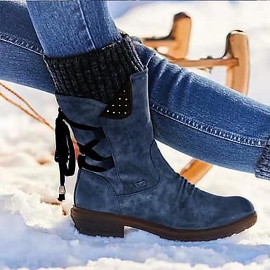 levne Dámská obuv-Dámské Boty Komfortní boty Kačenka Oblá špička PU Kotníčkové Zima Černá / Fialová / Červená
