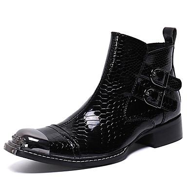 preiswerte Besondere Angebote-Herrn Fashion Boots Nappaleder Winter / Herbst Winter Retro / Britisch Stiefel warm halten Mittelhohe Stiefel Schwarz / Braun / Party & Festivität