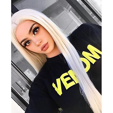 halpa Synteettiset peruukit verkolla-Synteettiset pitsireunan peruukit Silkkinen suora Sivuosa Lace Front Peruukki Pitkä Platinum Blonde Synteettiset hiukset 18-24 inch Naisten Cosplay Heat Resistant Party Vaaleahiuksisuus