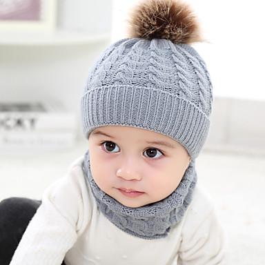 preiswerte Kinder Schals-2 Sätze Baby / Kleinkinder Unisex Aktiv / Süß Solide Gestrickt Acryl / Strickware Hüte & Kappen / Schals Schwarz / Weiß / Rote Einheitsgröße