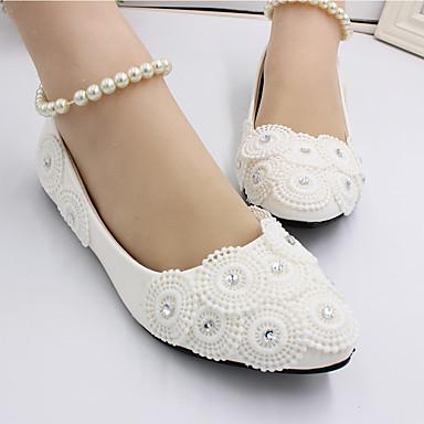 Mulheres Sapatos De Casamento Sem Salto Dedo Fechado Pérolas Couro Ecológico Doce Primavera & Outono Branco / Festas & Noite