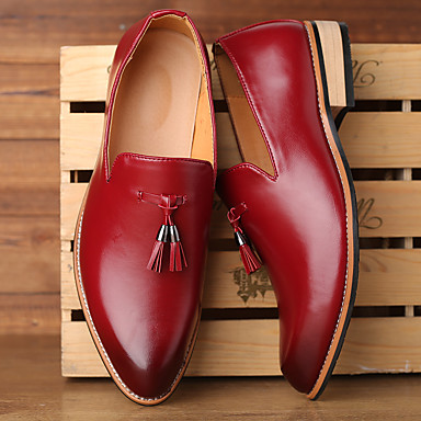 cheap Men's Slip-ons & Loafers-Men's Formal Shoes Dress Shoes Moccasin Business / Casual Party & Evening Office & Career Loafers & Slip-Ons PU Breathable Non-slipping Black / Yellow / Red Gradient / Tassel / Tassel