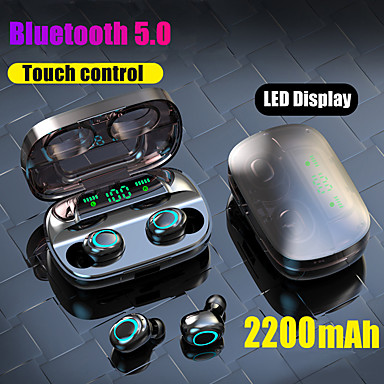 LITBest S11 TWS True Wireless Earbuds Bluetooth 5.0 Headphone 2200mAh Mobile Power for Smartphone LED Battery Display Touch Control IPX5 Waterproof Sports Fitness Earphones